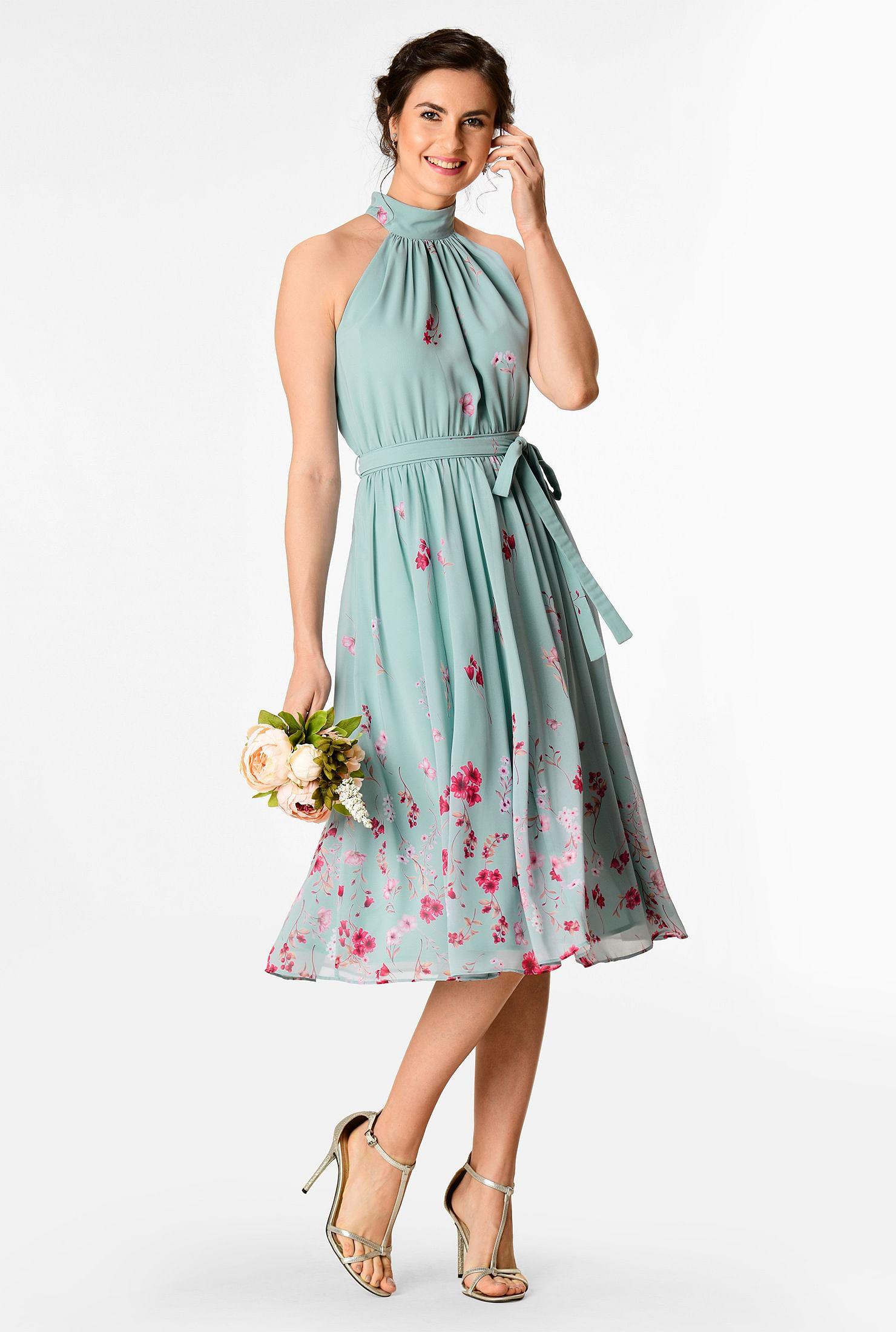 Floral print georgette halter neck dress