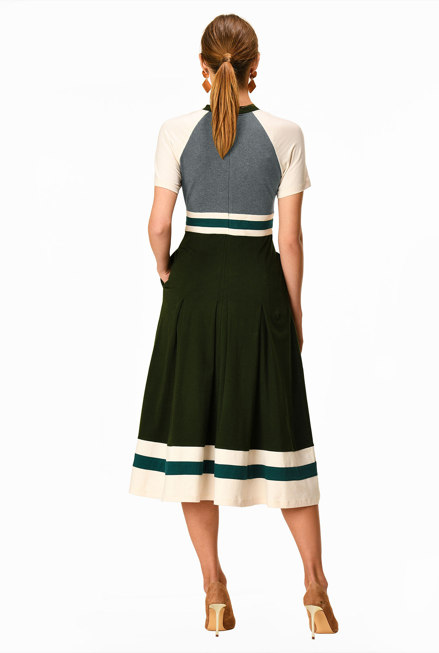 Sleeve Customizable Neckline eShakti FX Banded Stripe Trim Colorblock Cotton Knit Dress