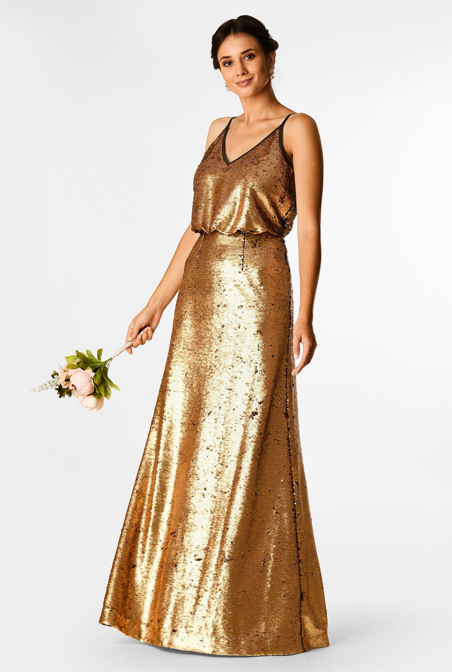 Sequin metallic maxi dress