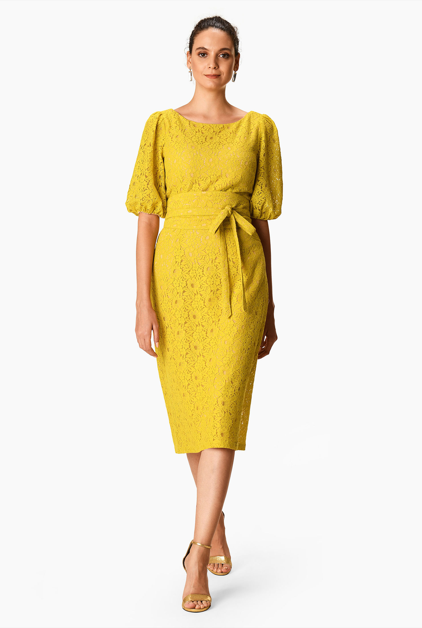 Blouson sleeve guipure lace obi belt dress