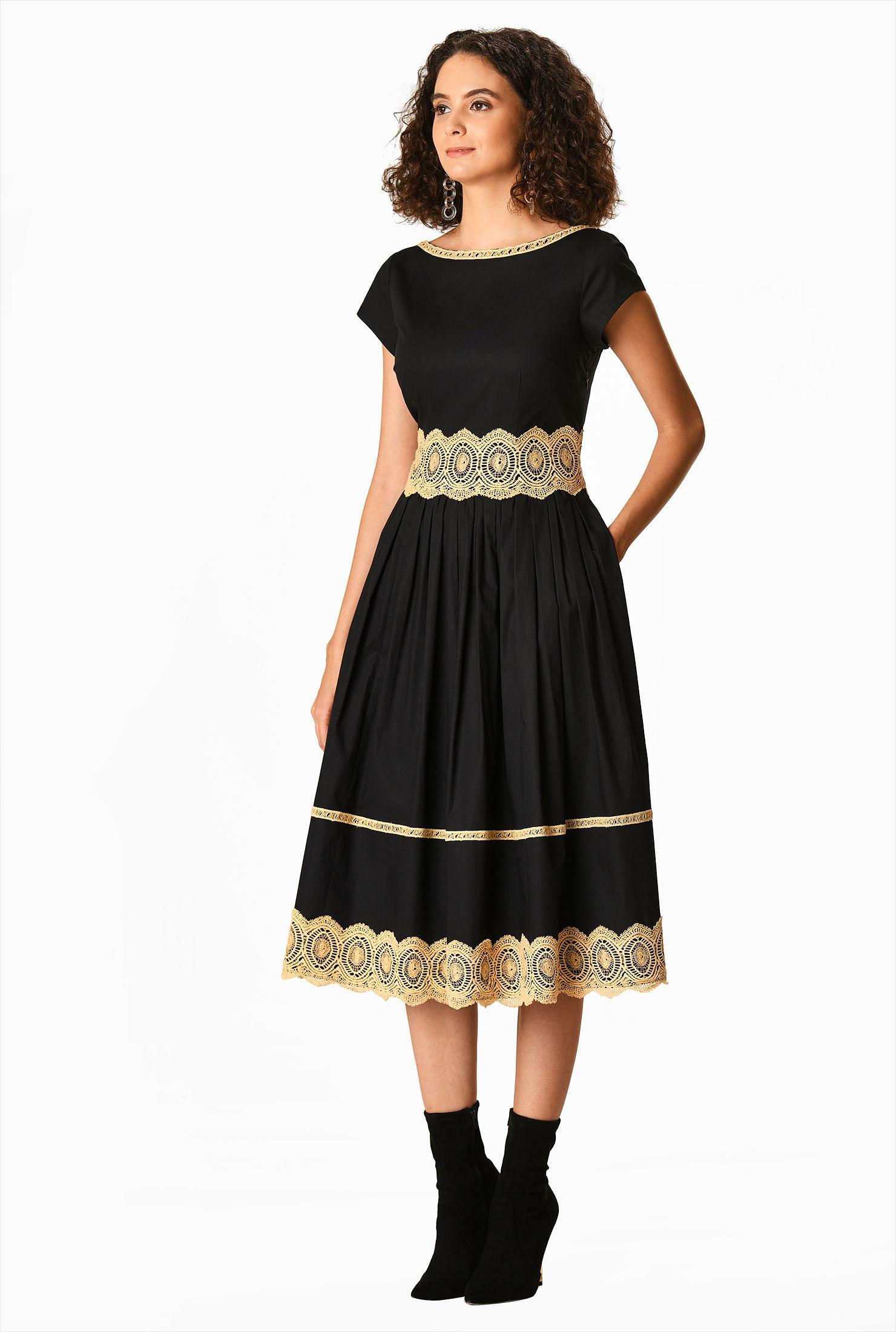 Scallop Lace Trim Cotton Poplin Dress