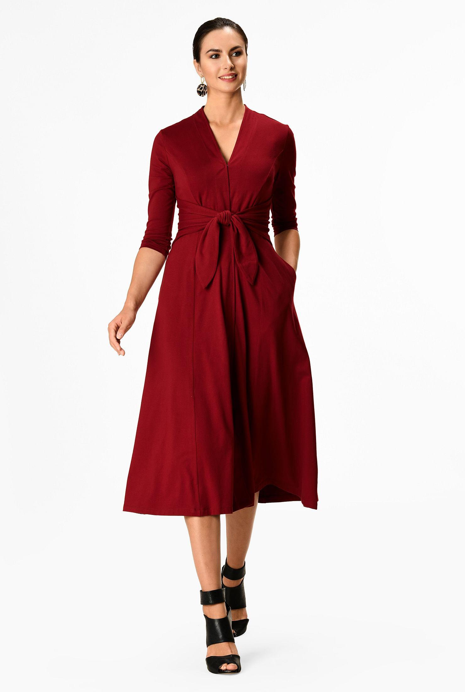 Tie-front cotton knit  midi dress