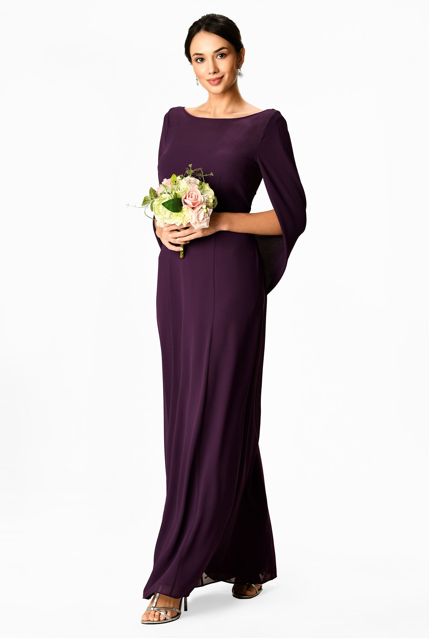 Capelet sleeve chiffon maxi dress