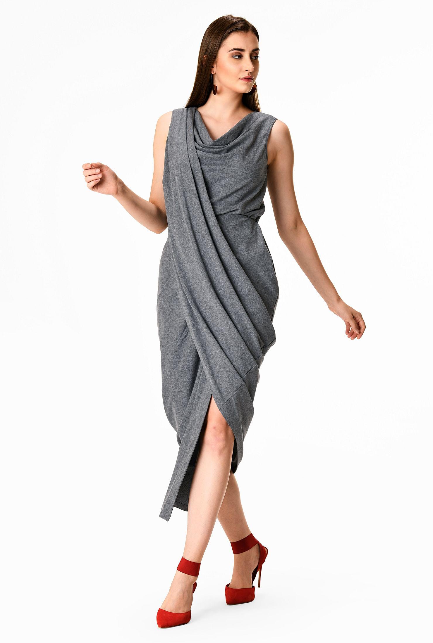 Grecian drape cotton knit sheath dress