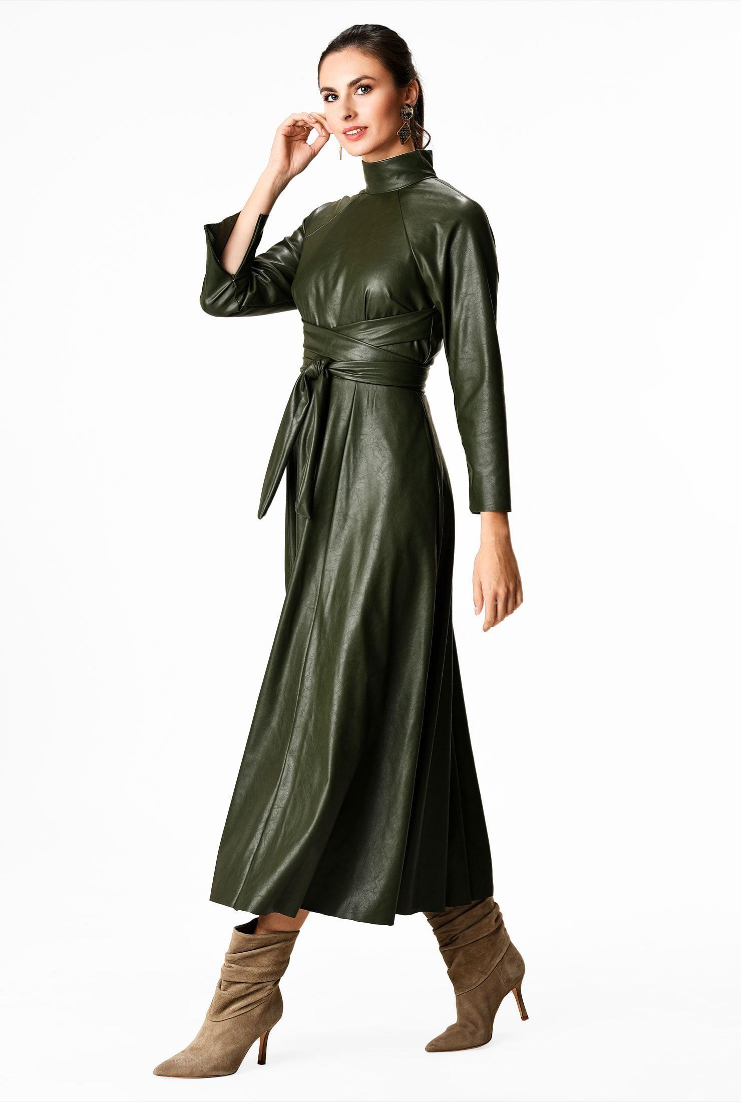Obi belt faux leather dress