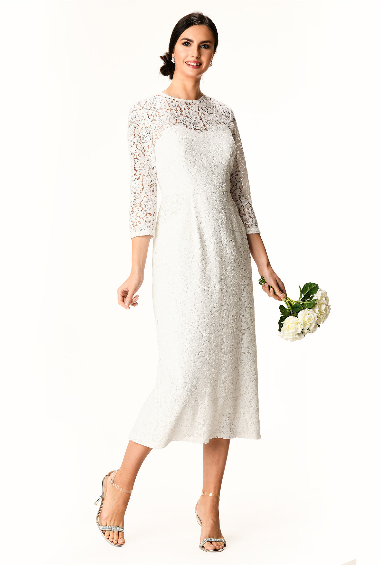 60s Wedding Dresses | 70s Wedding Dresses Illusion floral lace sheath dress $99.95 AT vintagedancer.com