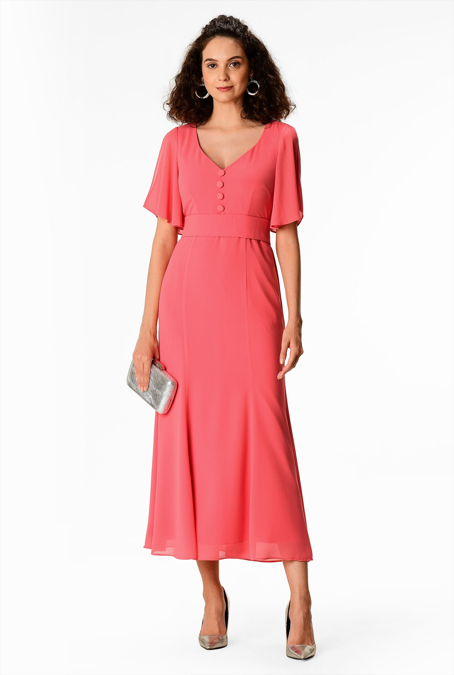 1930s Day Dresses, Afternoon Dresses History Flared sleeve chiffon trumpet midi dress $89.95 AT vintagedancer.com