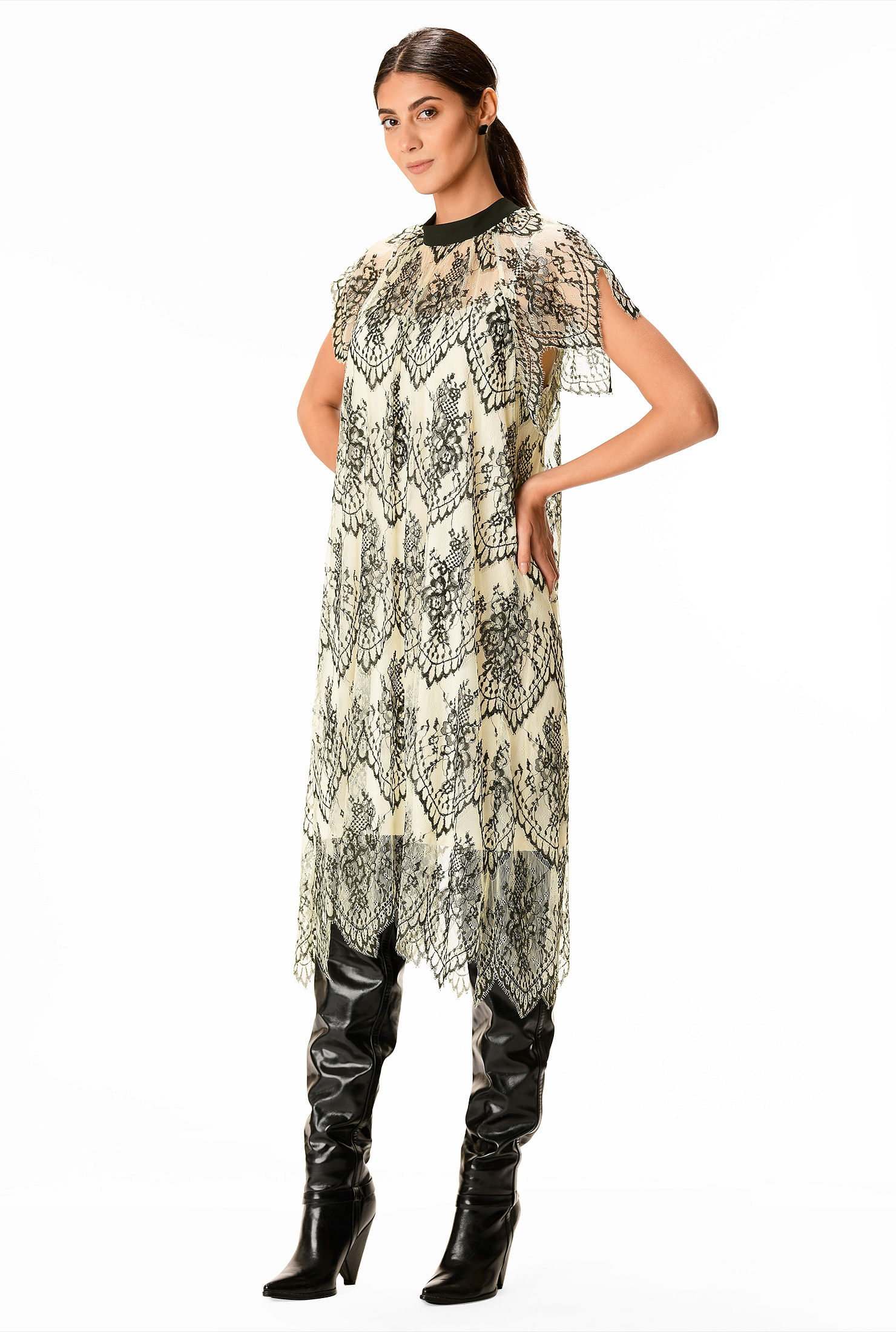 Charleston Dress: Fringe Flapper Dress High-low hem floral lace shift dress $114.95 AT vintagedancer.com