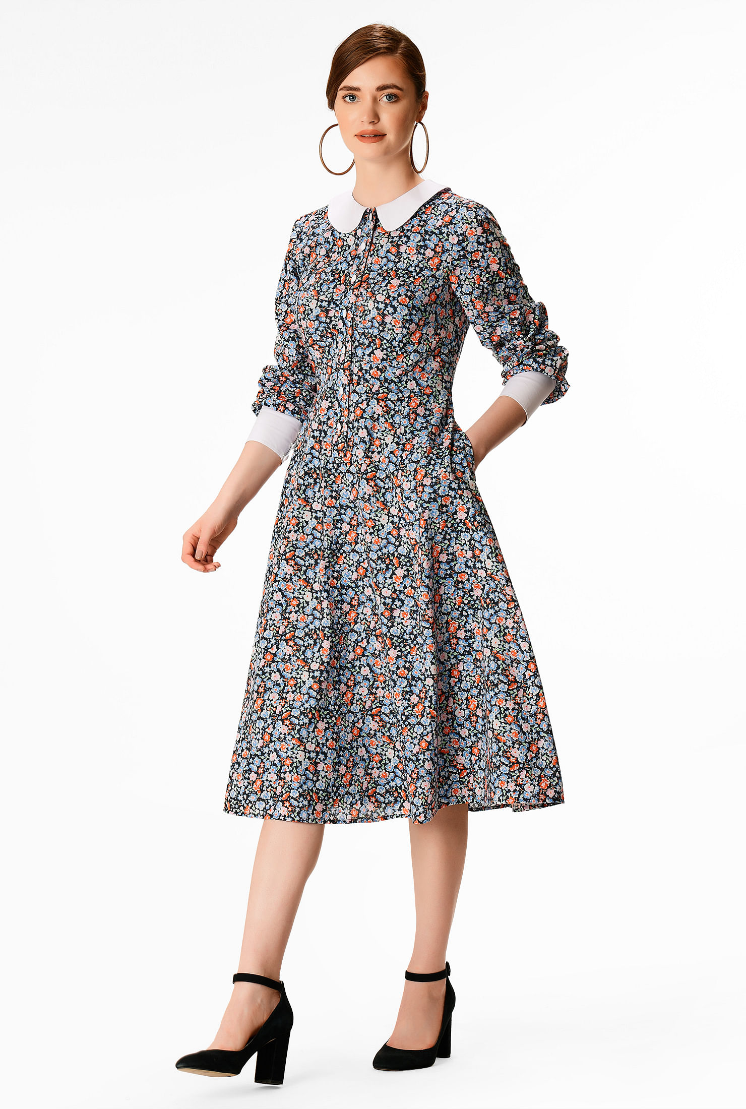 1930s Day Dresses, Afternoon Dresses History Contrast collar floral print cotton shirtdress $84.95 AT vintagedancer.com