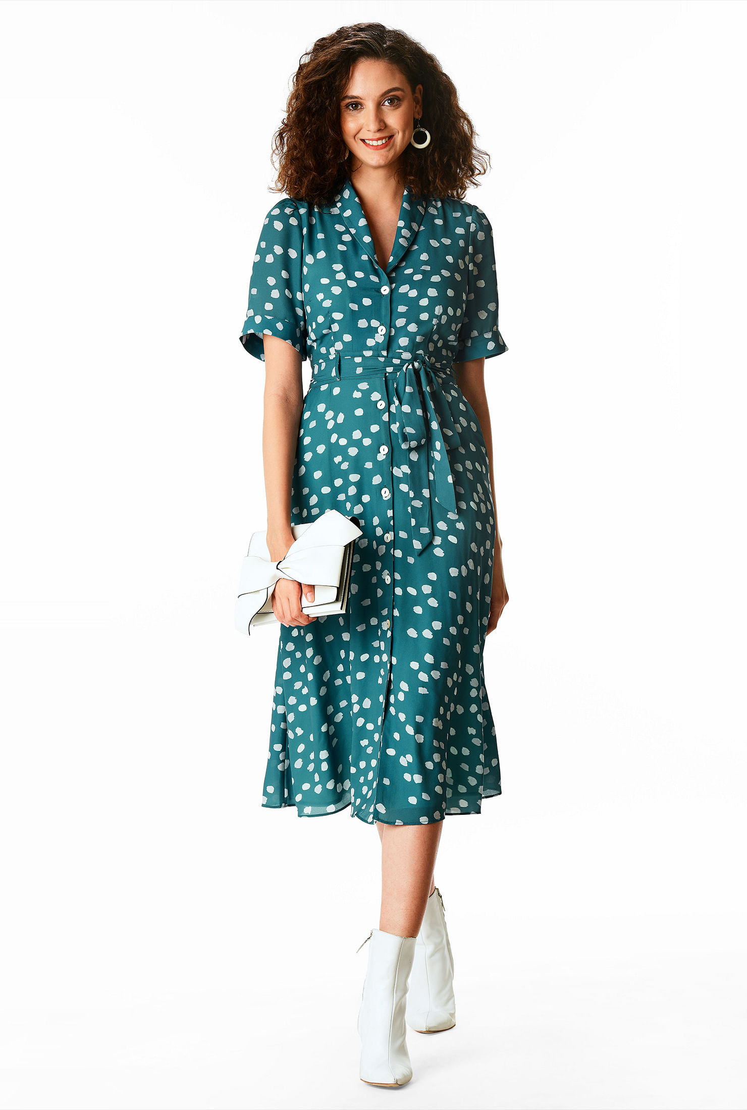 1930s Day Dresses, Afternoon Dresses History Graphic dot print crepe tie waist shirtdress $79.95 AT vintagedancer.com