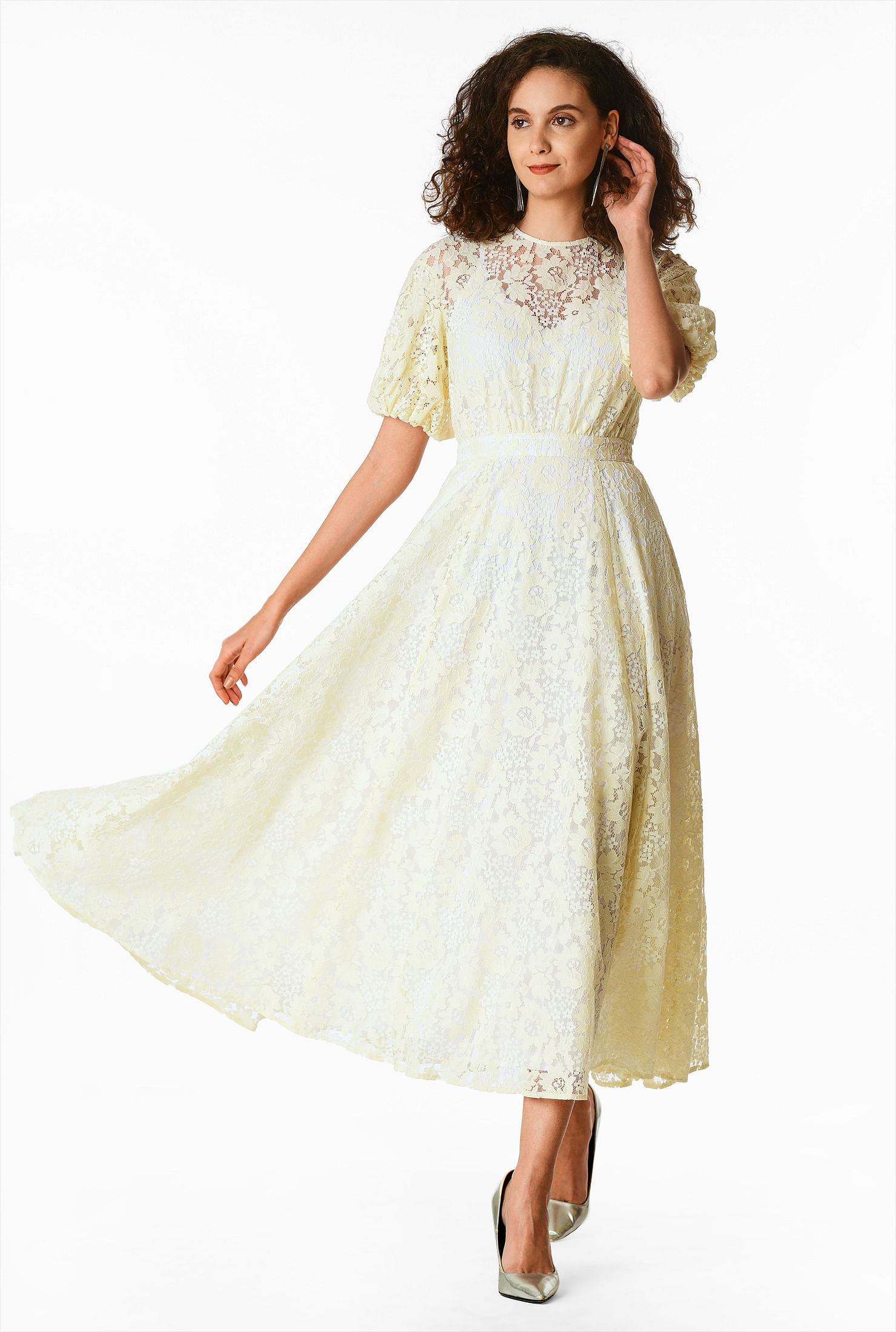 50s Wedding Dress, 1950s Style Wedding Dresses, Rockabilly Weddings Blouson sleeve floral lace dress $119.95 AT vintagedancer.com