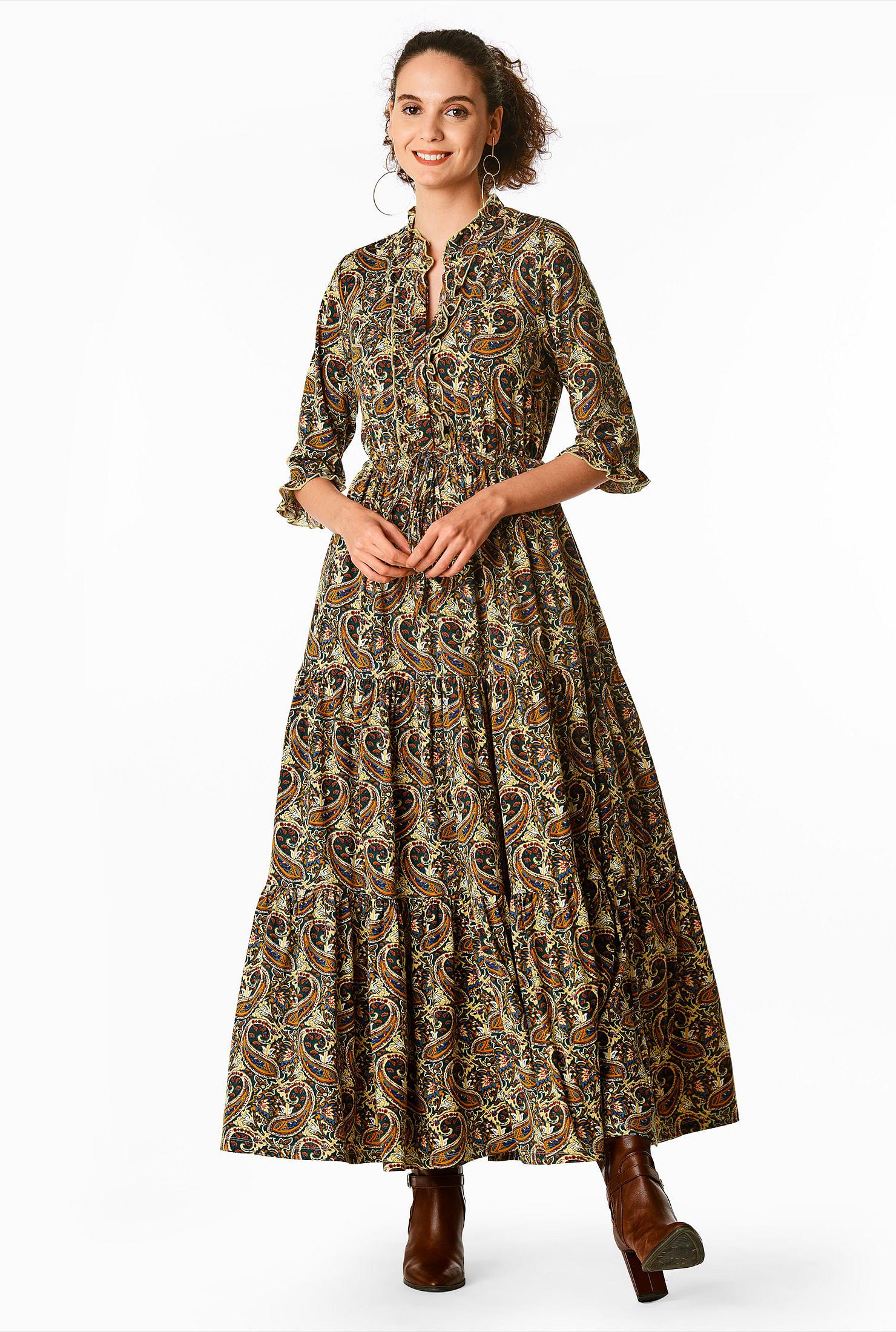 70s Dresses – Disco Dress, Hippie Dress, Wrap Dress Ruffle tier paisley print knit shirtdress $64.95 AT vintagedancer.com