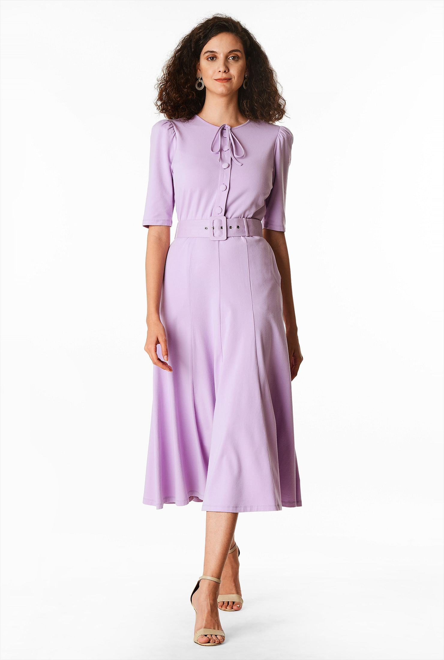 1930s Day Dresses, Afternoon Dresses History Belted cotton knit shirtdress $69.95 AT vintagedancer.com