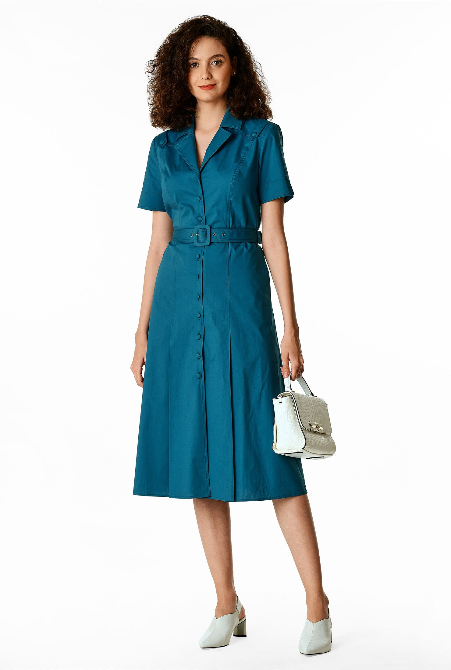 1930s Day Dresses, Afternoon Dresses History Cotton poplin belted shirtdress $59.99 AT vintagedancer.com