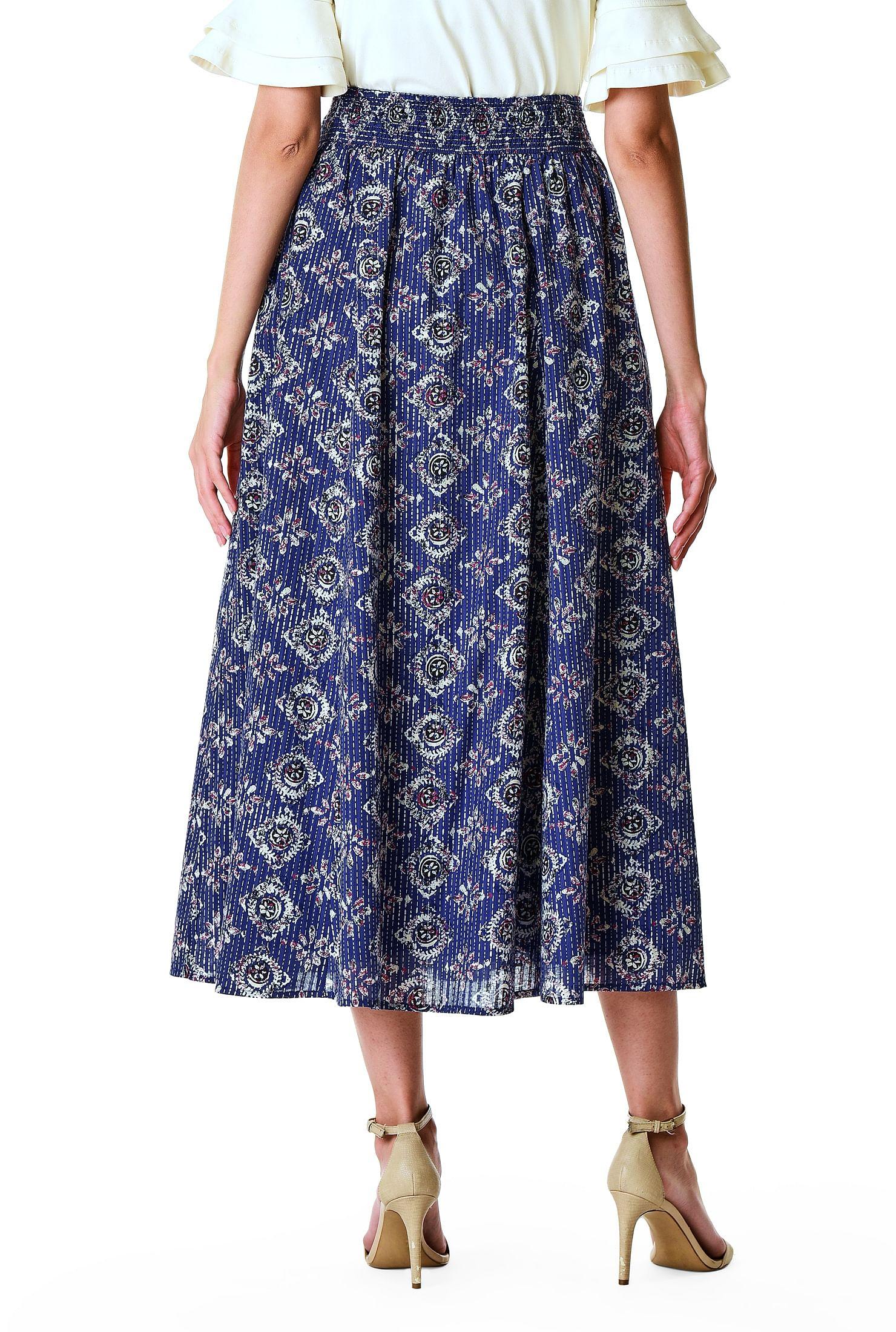High Elastic Waist Mosaic Style Mid Calf Length Skirt For Womens Pleated Designs
