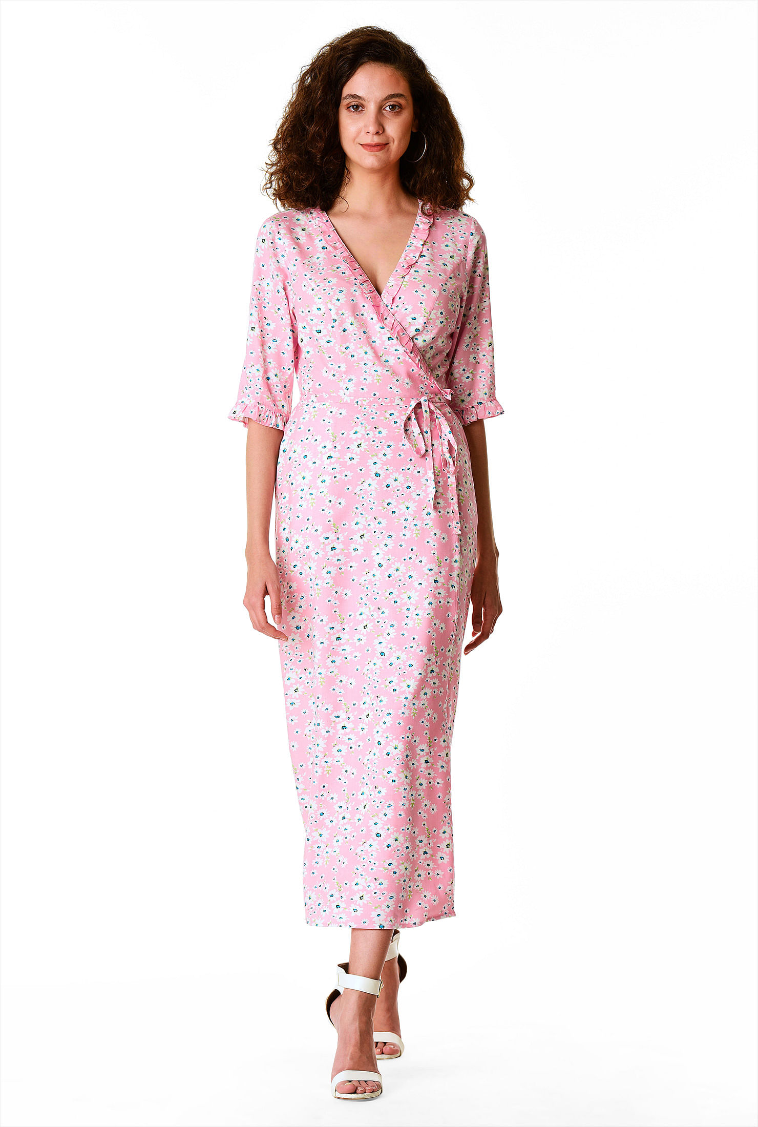 1930s Day Dresses, Afternoon Dresses History Ruffle frill floral print wrap dress $39.95 AT vintagedancer.com