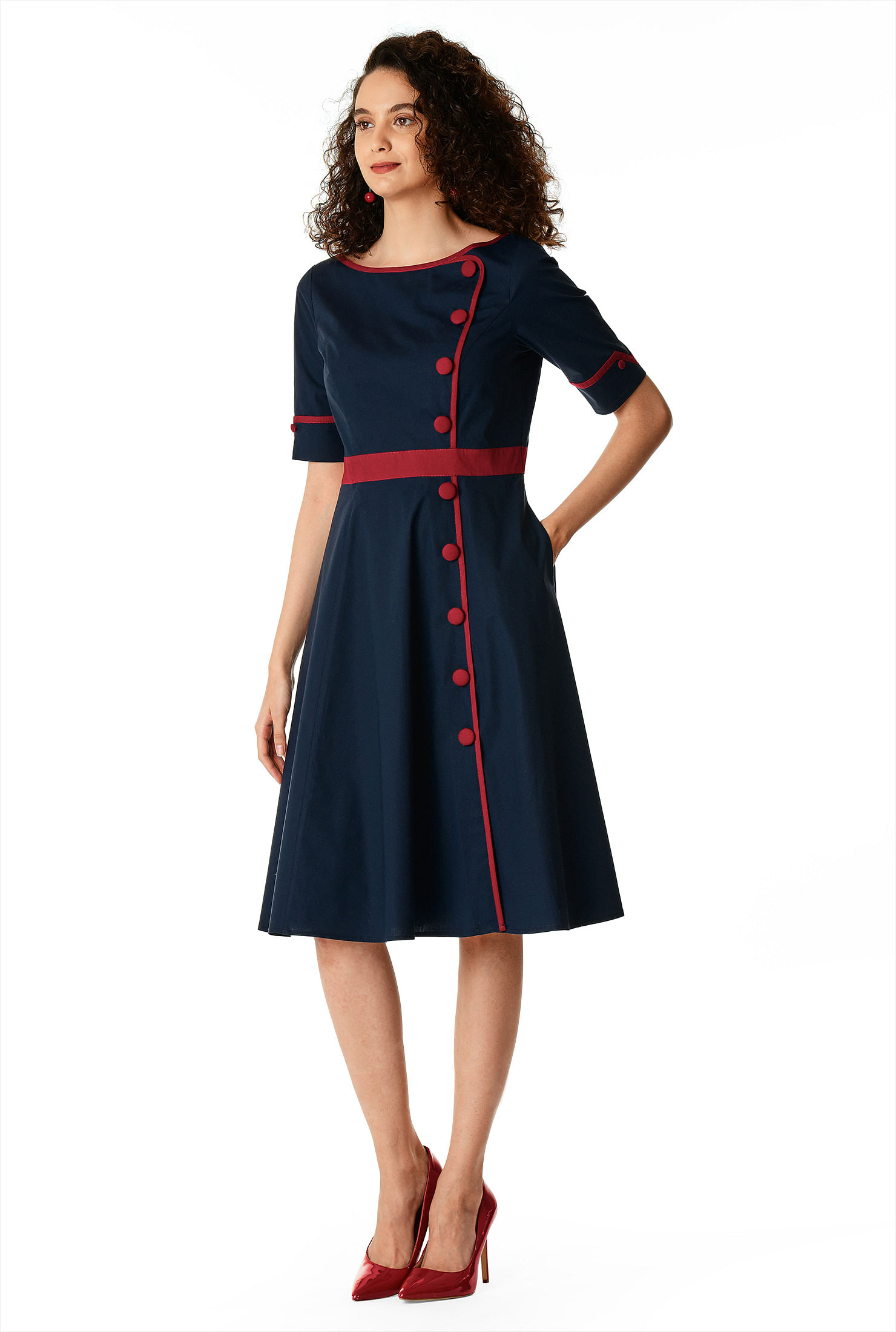 500 Vintage Style Dresses for Sale | Vintage Inspired Dresses Contrast trim cotton poplin fit-and-flare dress $59.95 AT vintagedancer.com