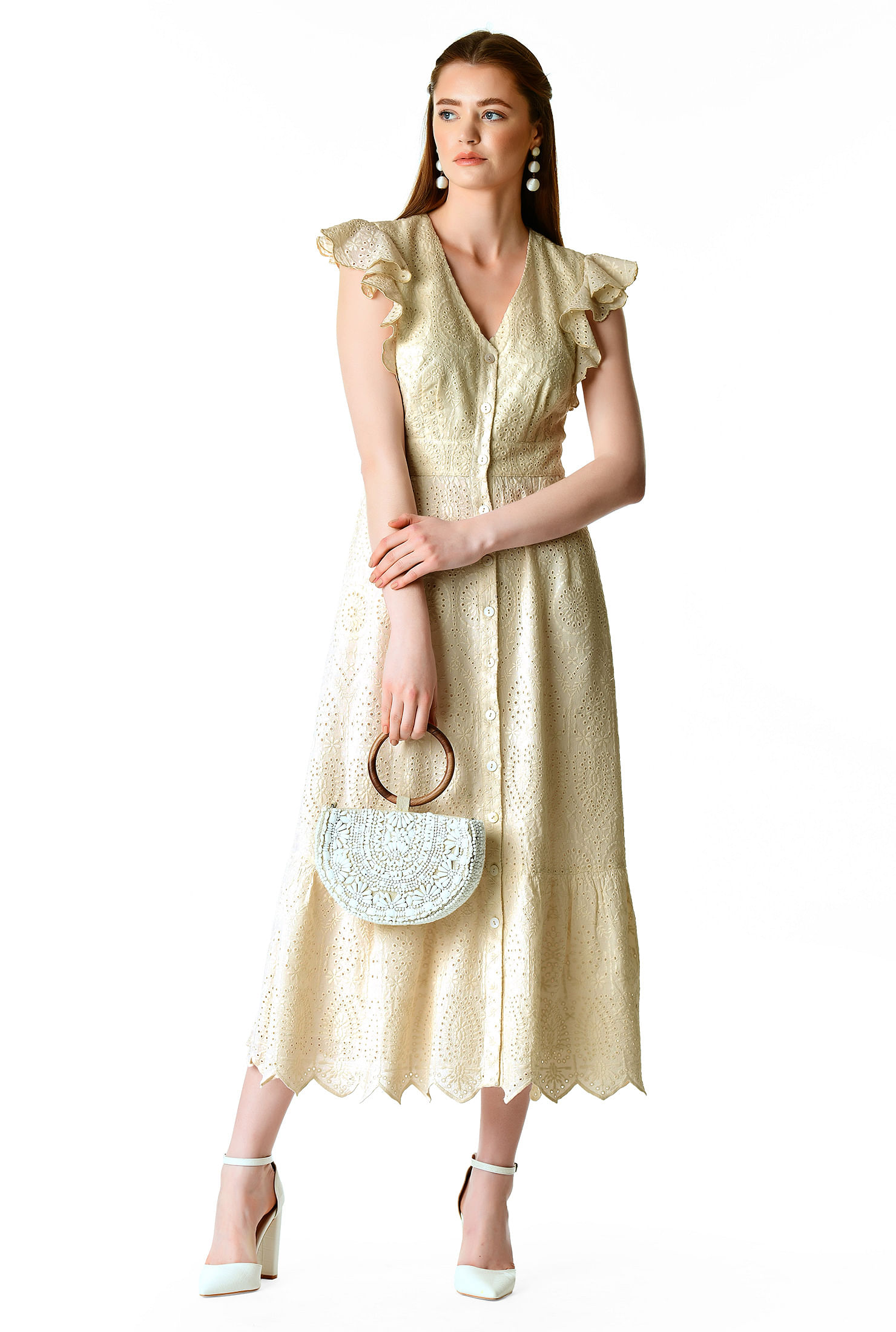 500 Vintage Style Dresses for Sale | Vintage Inspired Dresses Scallop trim cotton eyelet shirtdress $99.95 AT vintagedancer.com
