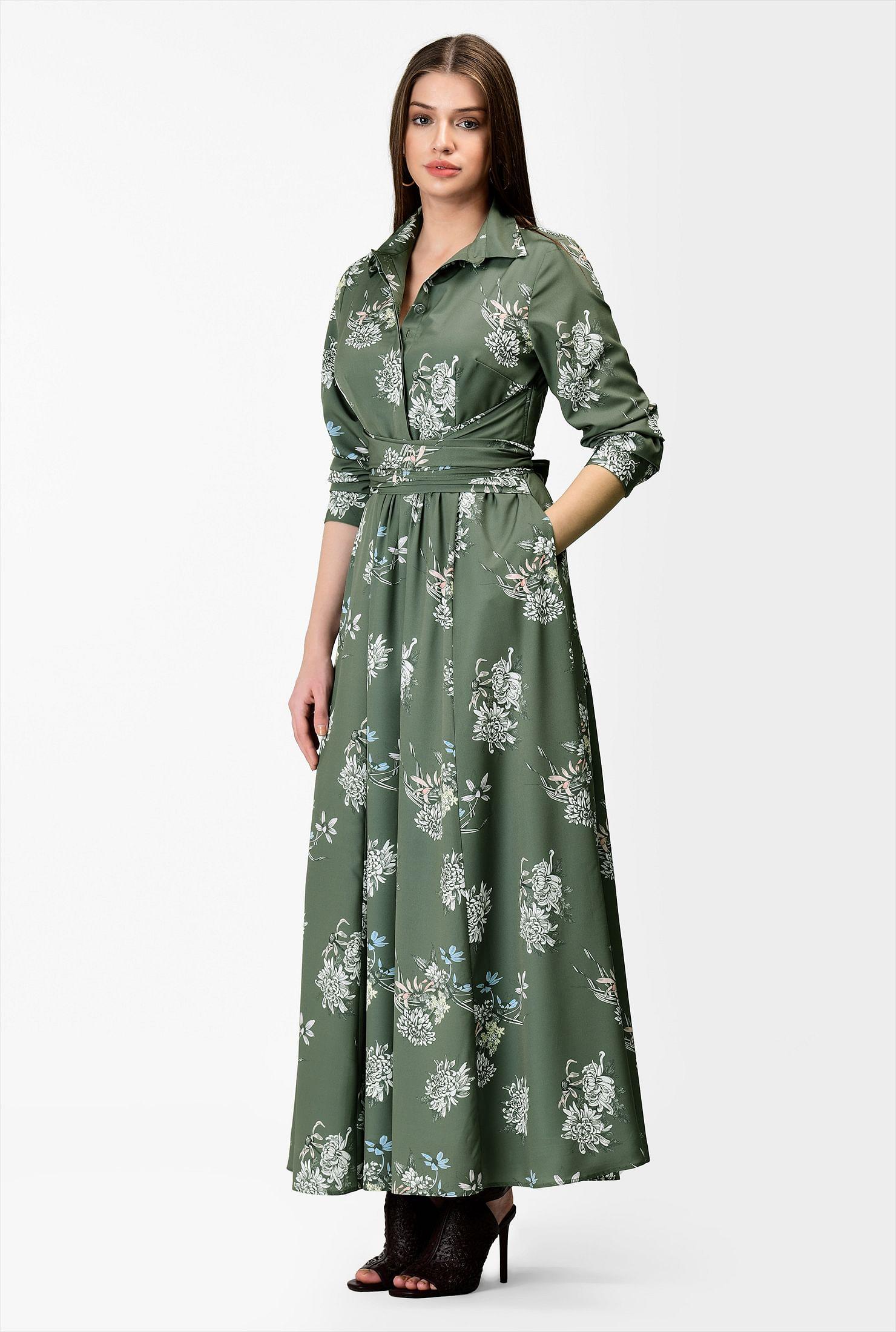 Wonderbaarlijk Floral print cross pleat waist maxi shirtdress - Women's Clothing RB-29