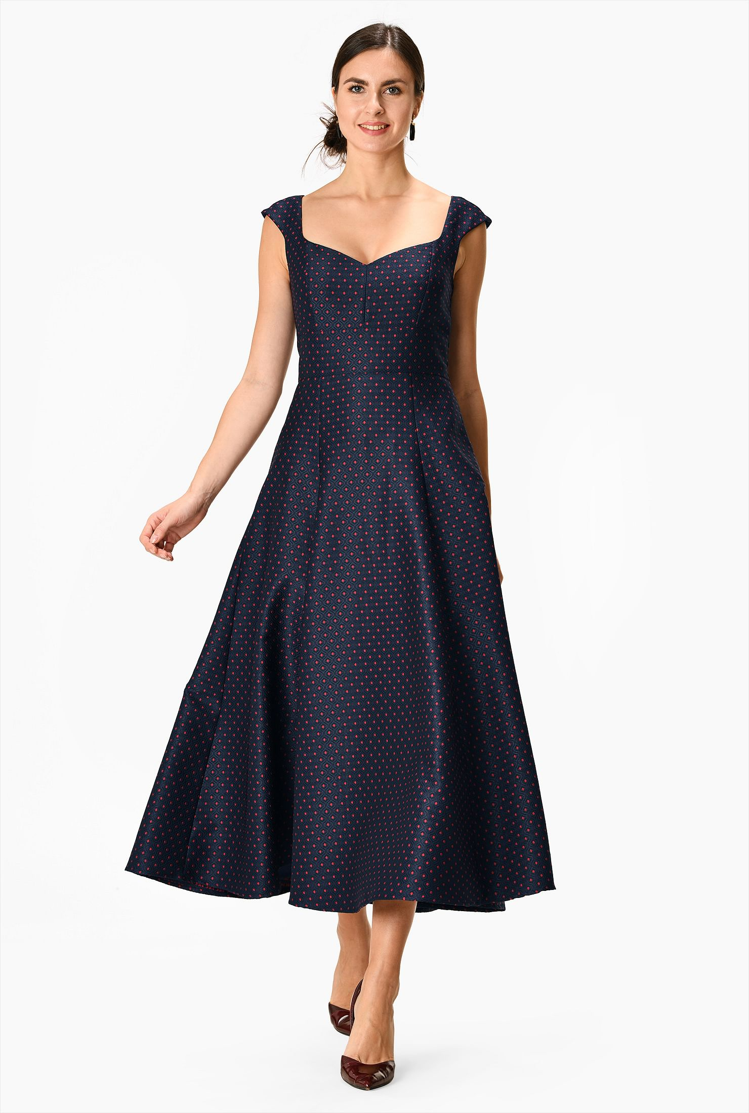 Graphic jacquard fit-and-flare dress