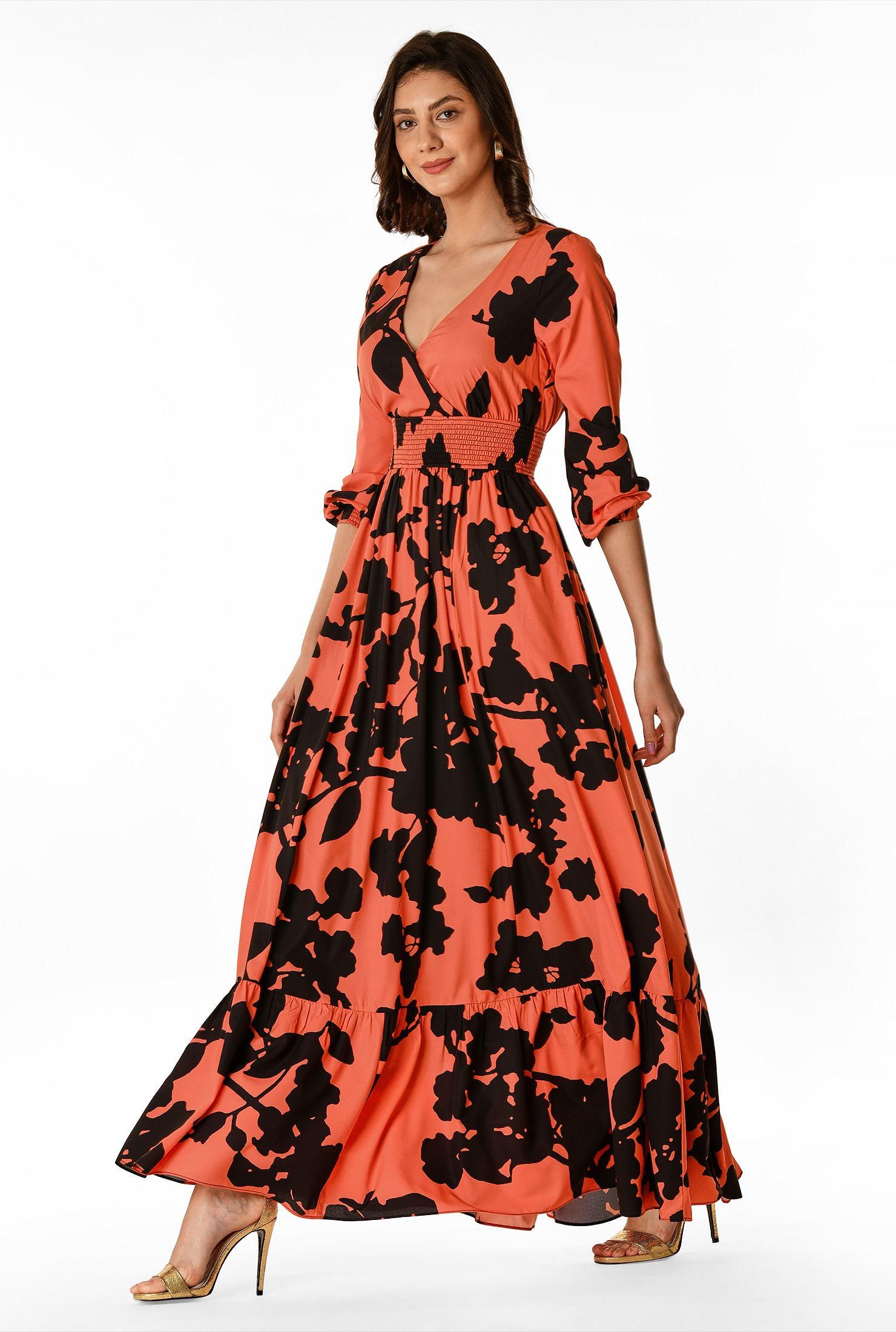 FLORAL SMOCKED WAIST MAXI DRESS