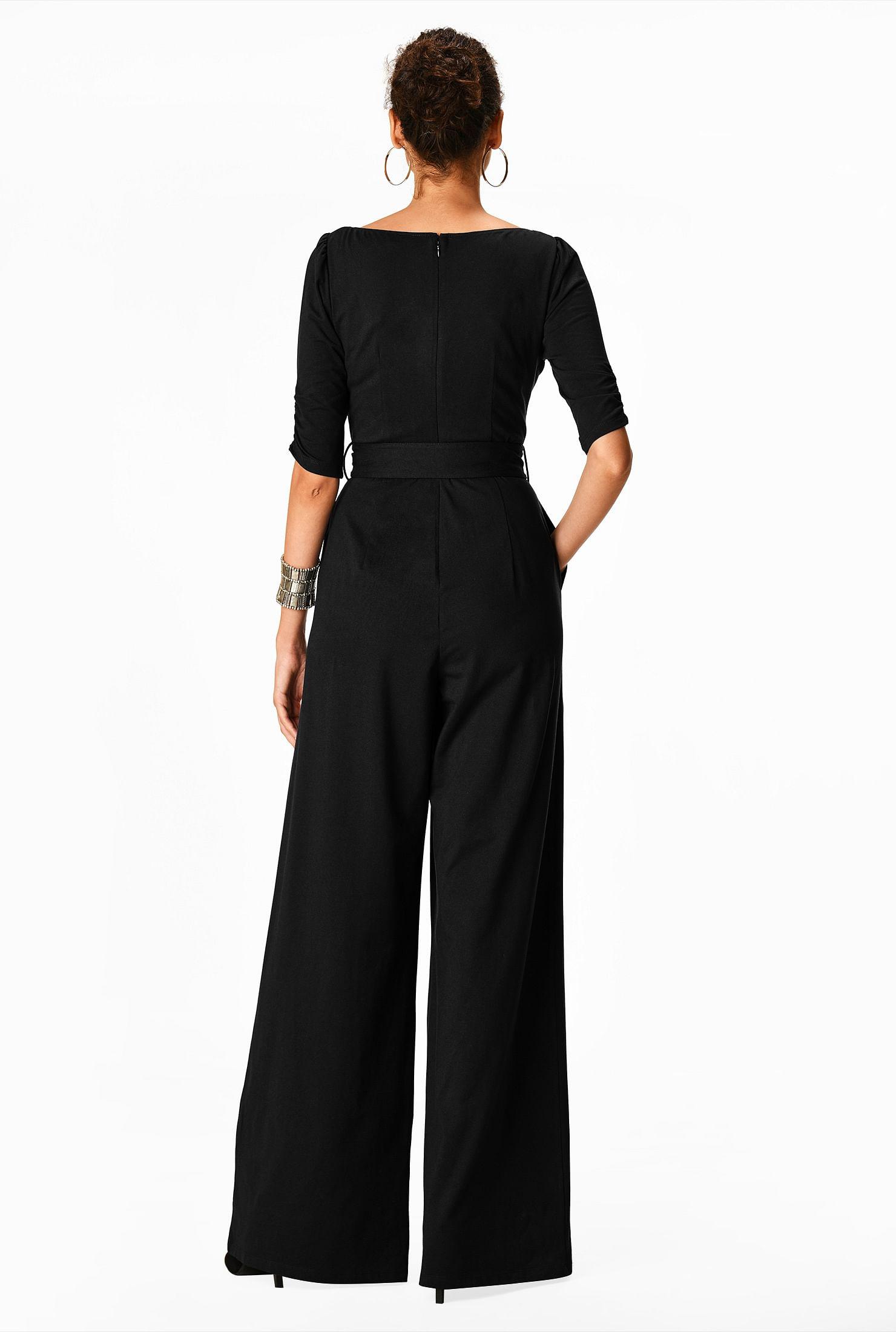 eShakti FX Zip Front Cotton Knit Palazzo Jumpsuit Customizable Neckline Sleeve /& Length