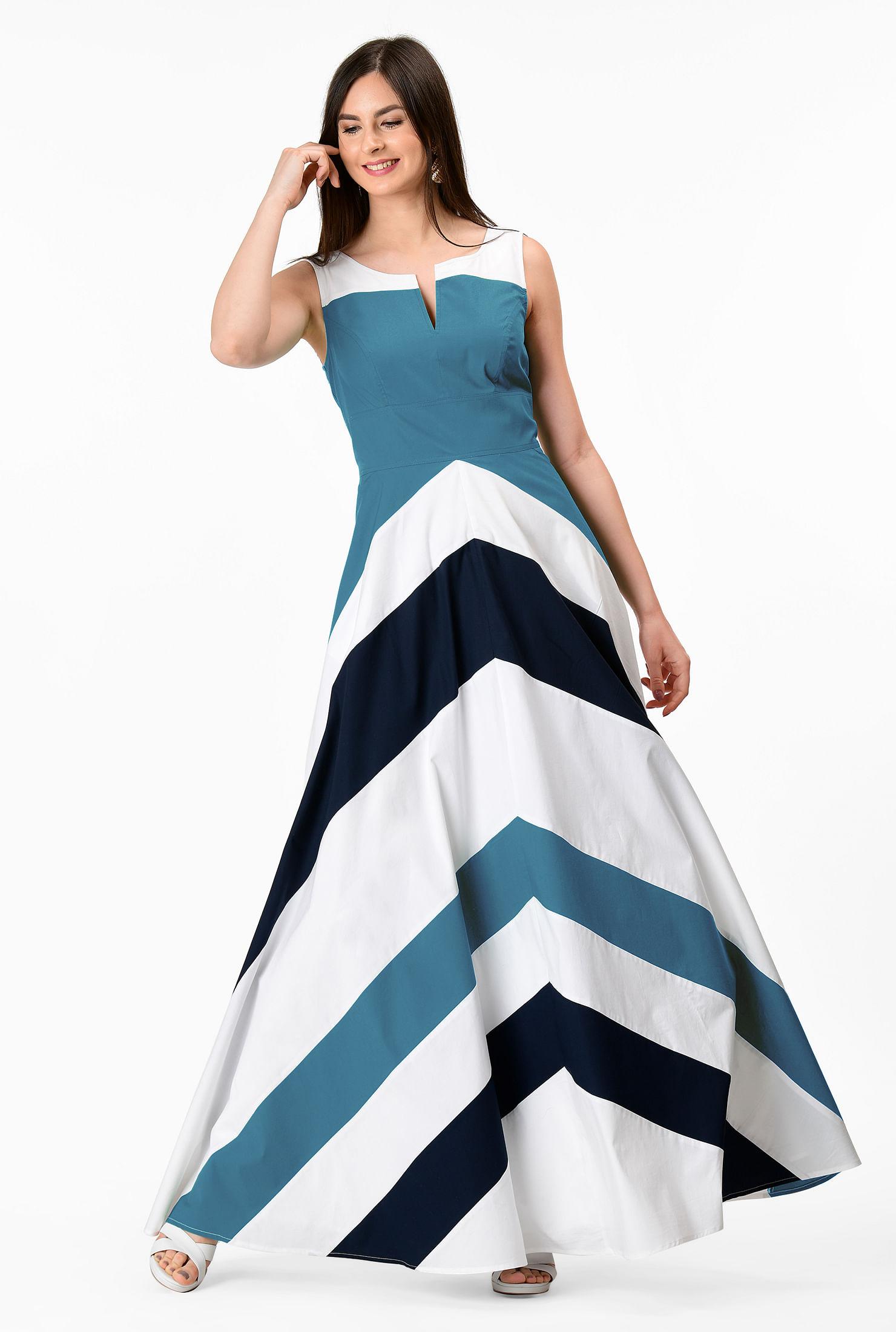 Chevron Stripes Maxi Sarong Skirt